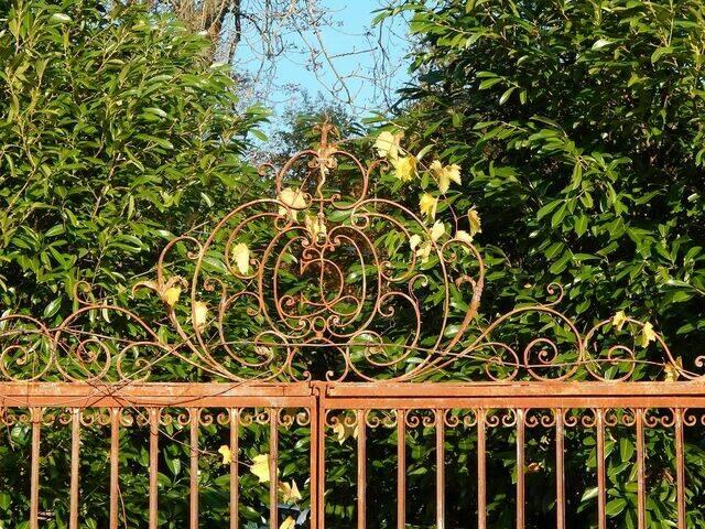Initiales de la famille de Cursay sur la grille d'accès au chenil du château de Cursay ©Clarisse Lorieux