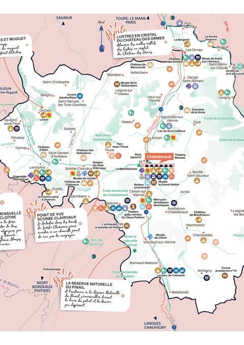Toeristische kaart van Grand Châtellerault